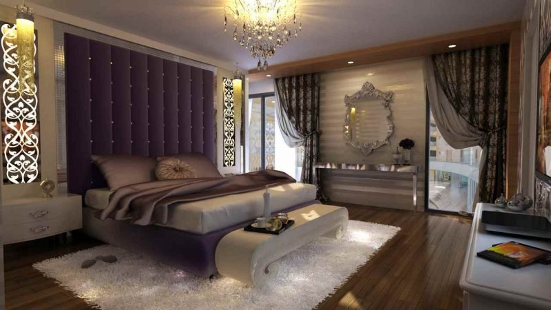 Fenstergestaltung mit dunklen Gardinen im Schlafzimmer für eine erholsame Nacht
