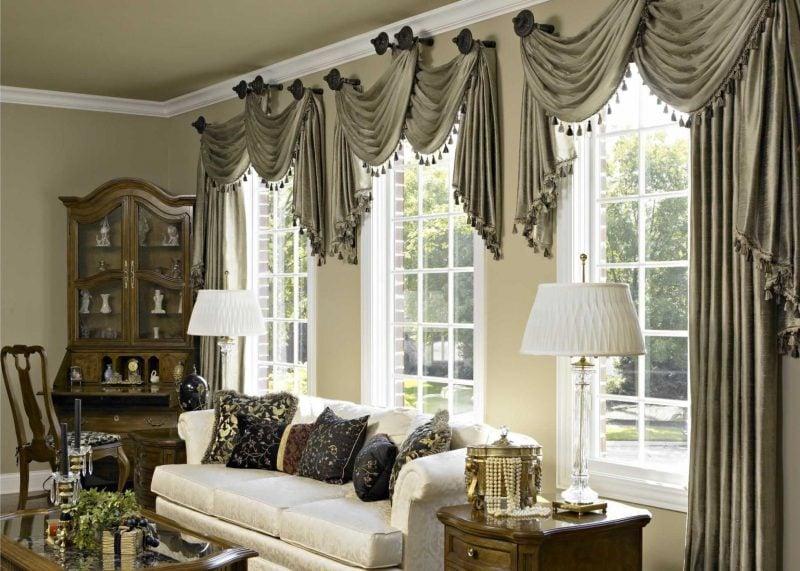 Fenstergestaltung mit Gardinen im rustikalen Stil