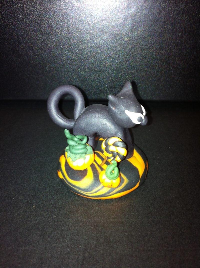 Fimo Ideen für eine Halloween Katze