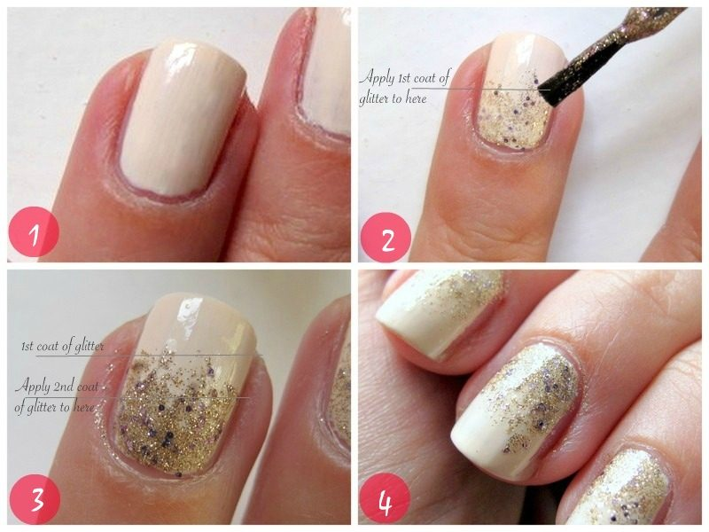 fingernagel motive glitter