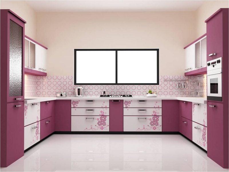 dezente folie kuchenruckwand in einer lila küche verleiht einen schlichten deisgn