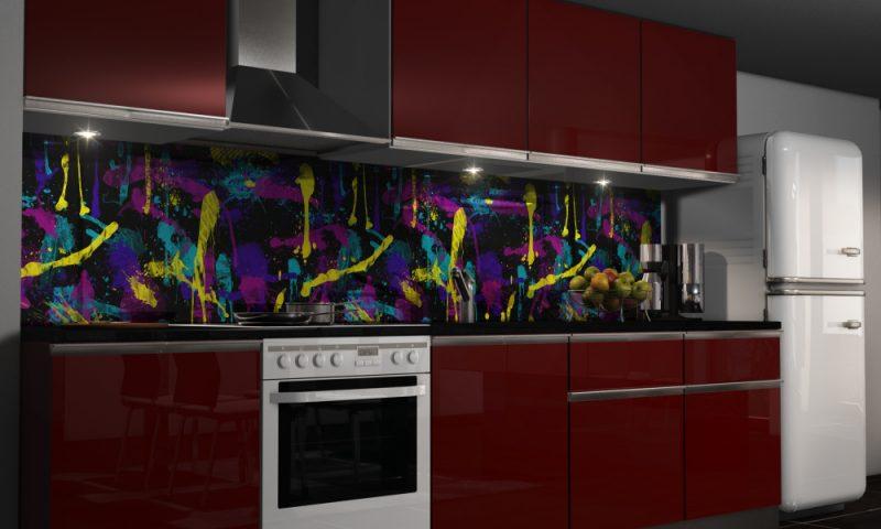 nicht traditionelle folie kuchenruckwand sieht in der modernen küche wünderschön aus