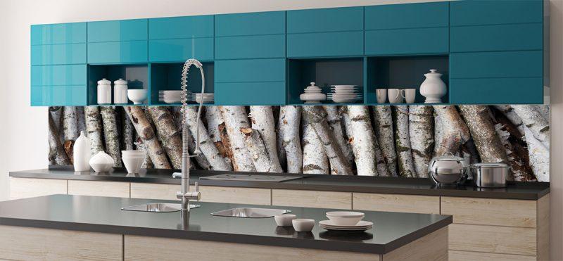 folie küchenrückwand in einer modernen küche setzt holzoptik akzente