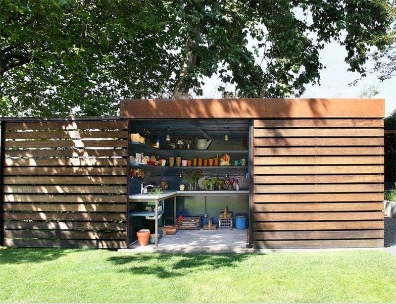 Moderne Gartenhütten ohne Dach