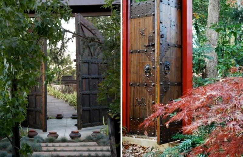 gartentor holz massivholz metall scharniere japan garten