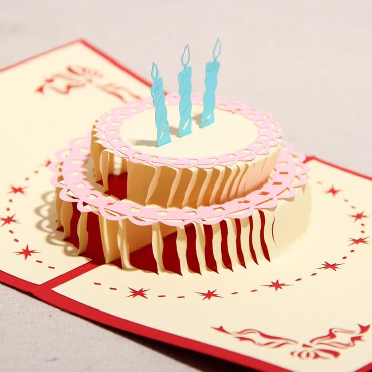 geburtstagskarten selbst gestalten auf interessanter weise wie eine torte auf zwei seiten