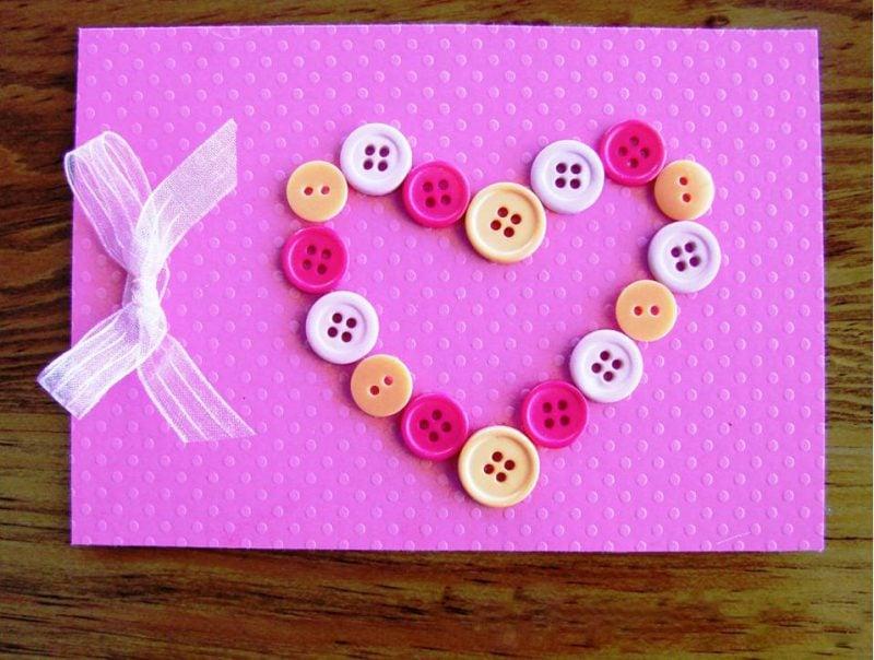 geburtstagskarten selbst gestalten auf rosa papier mit einem kreativen herzen aus knoten