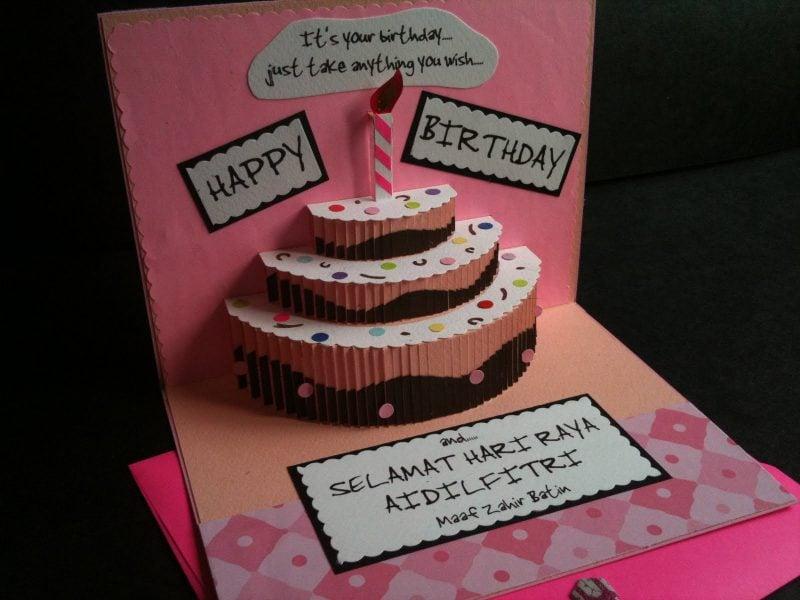 geburtstagskarten selbst gestalten in form von einer torte mit kerze aus papier