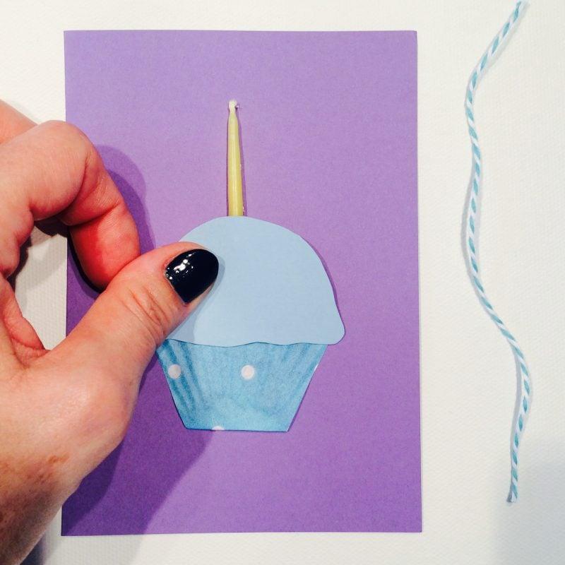 geburtstagskarten selbst gestalten karte mit einem blauen cupcake und eine kerze