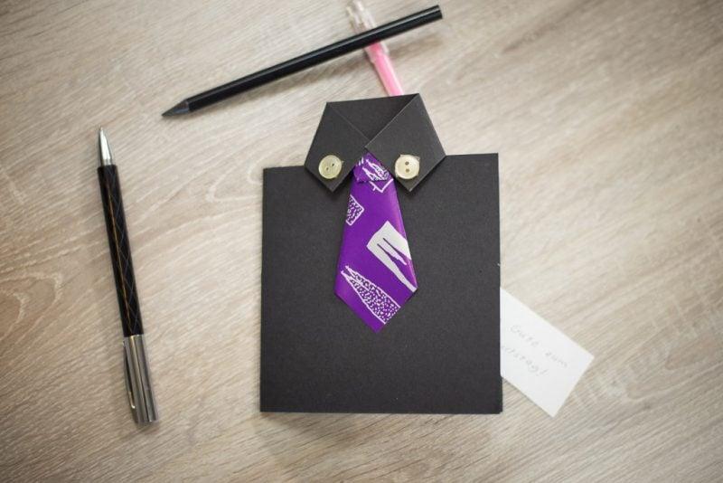 geburtstagskarten selbst gestalten in form von einem shirt mit krawatte