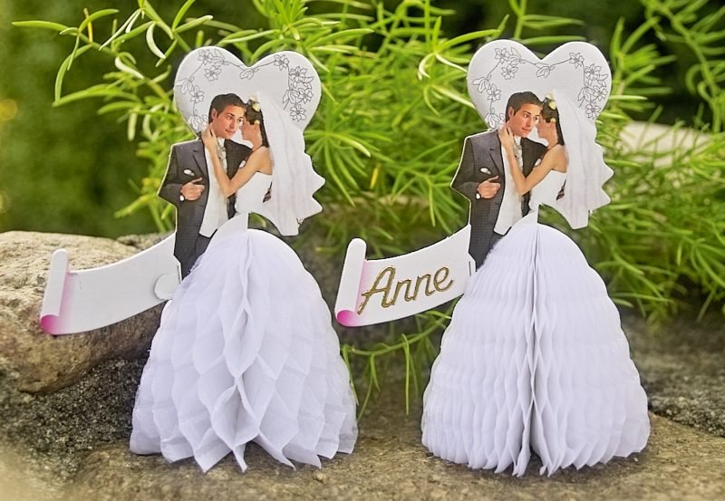 hochzeitskarten basteln tischkarte mit foto des paares