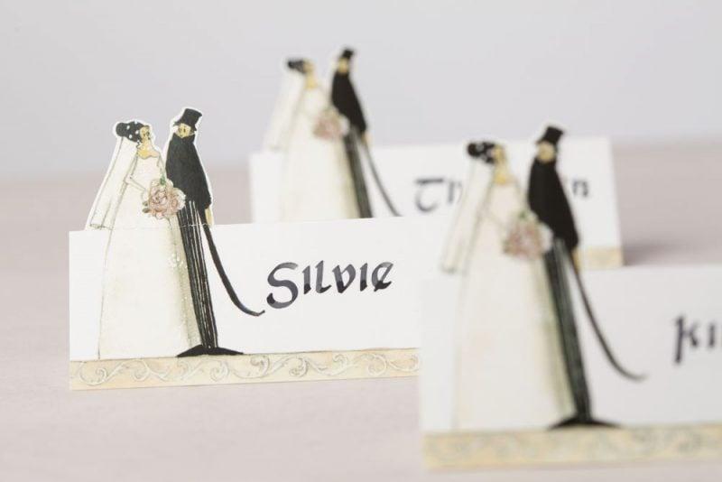 hochzeitskarten basteln tischkarten mit paar-figuren