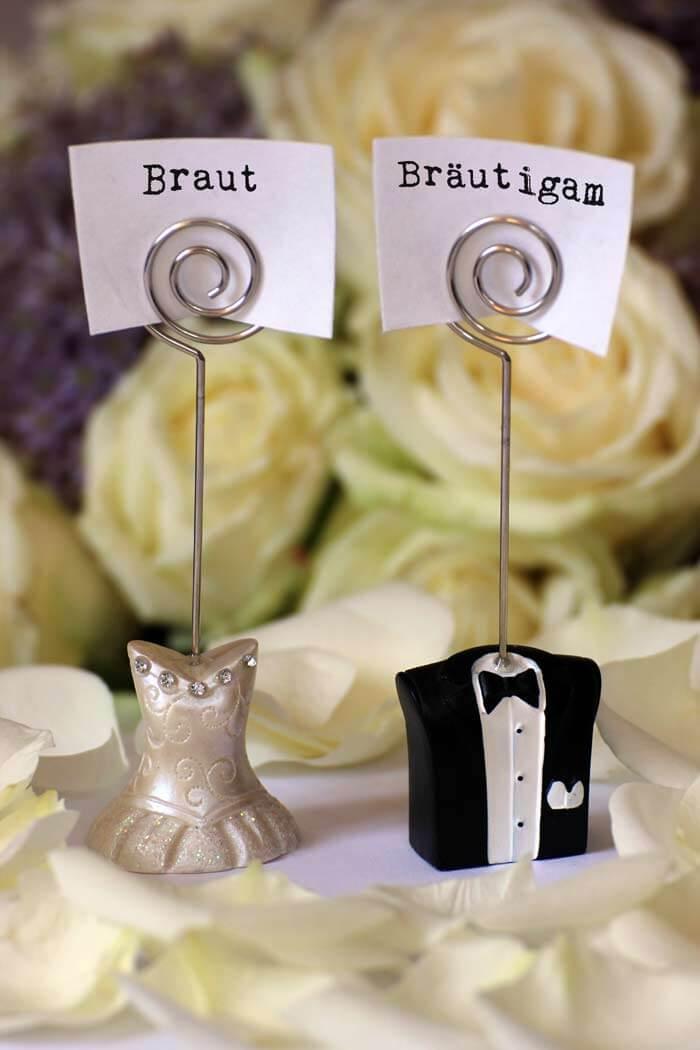 hochzeitskarten basteln kreative tischkarte für braut und bräutigam