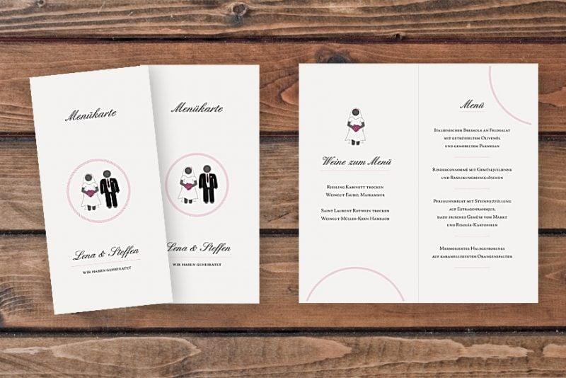 hochzeitskarten basteln menükarte auf weißem papier mit braut und bräutigam