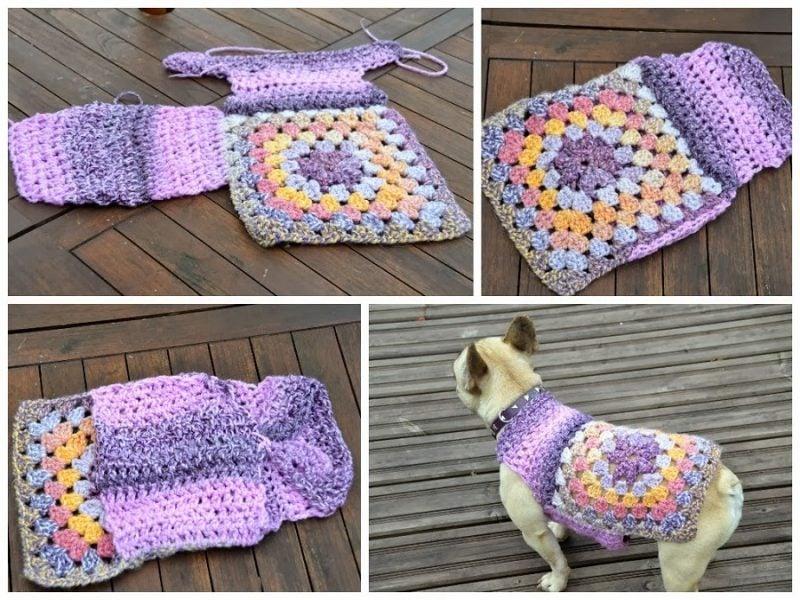Hundepullover stricken mit zwei Arten Muster
