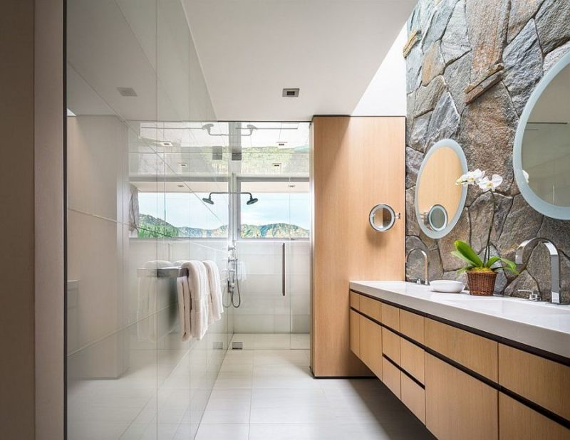 Steinwand Badezimmer Pflege Holz Badewanne Khis Für Ein