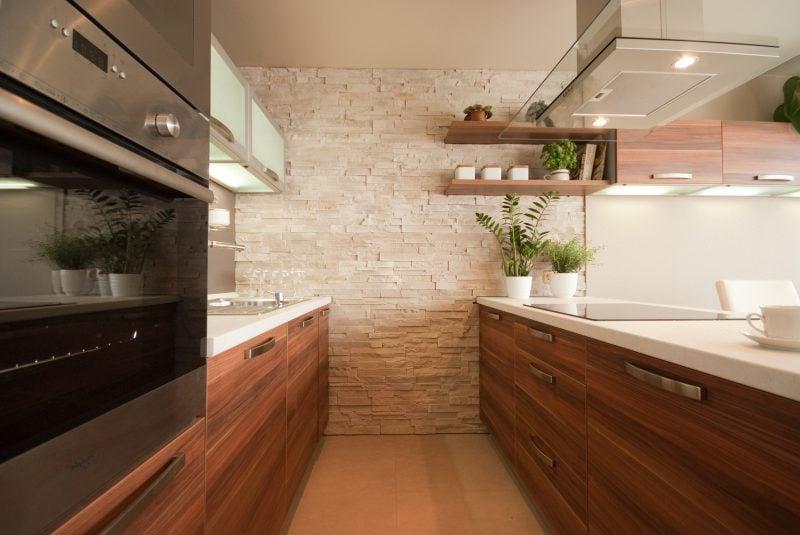 innen steinwand küche