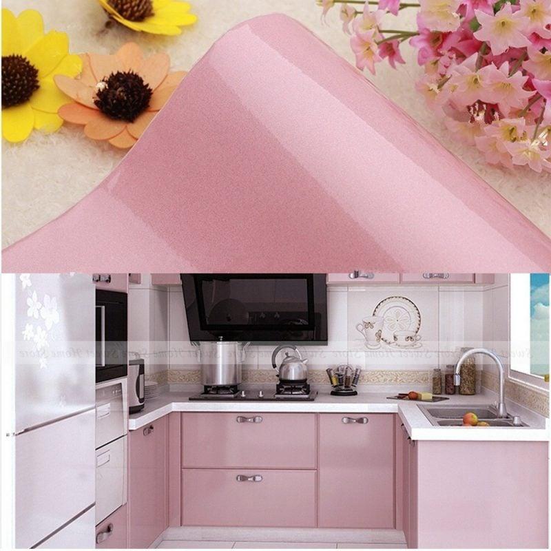 küchenfronten bekleben rosa