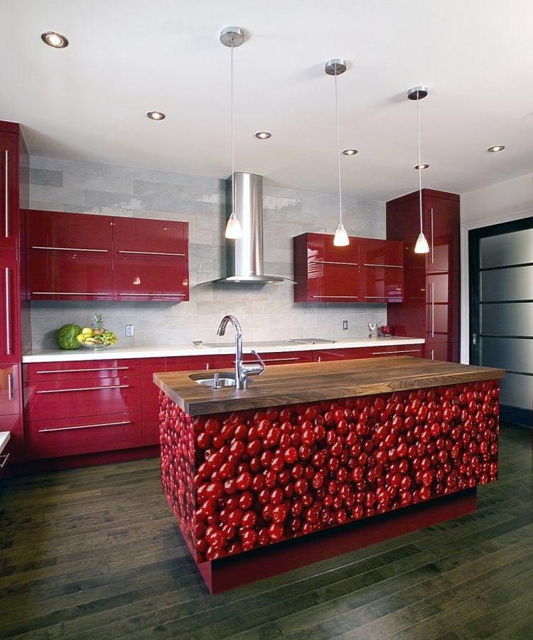 küchenfronten bekleben dunkel rot