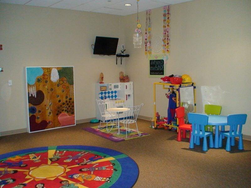 Kinderzimmerteppich in einem runden Form