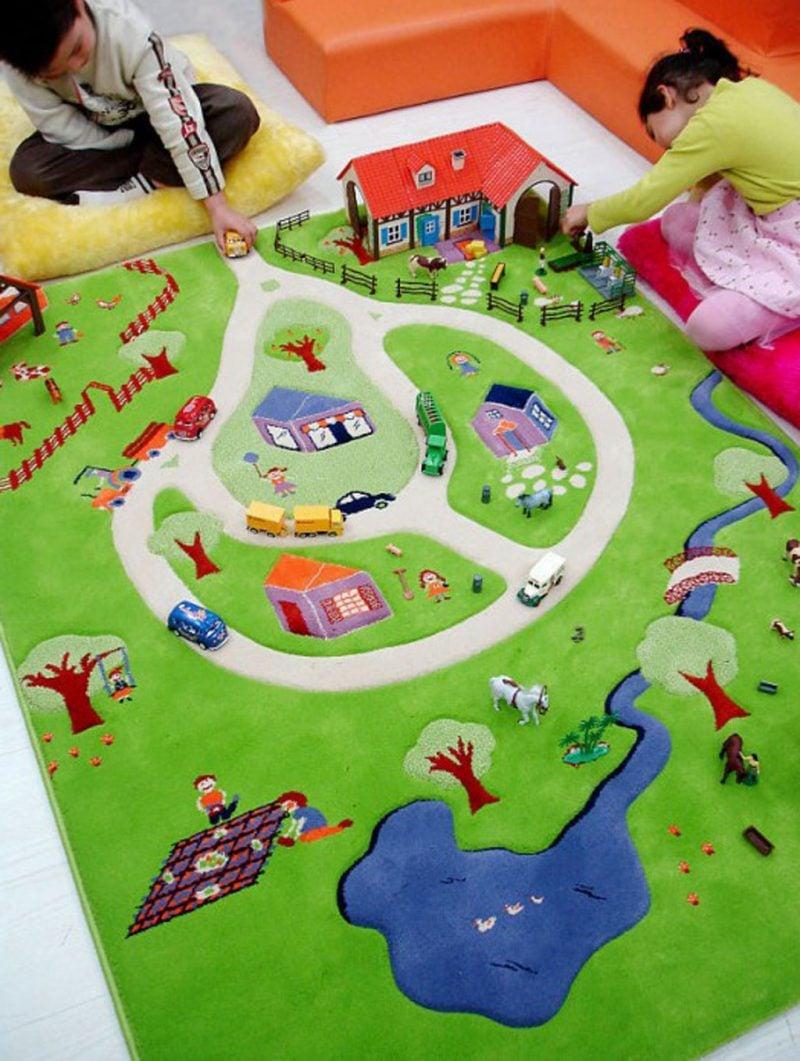 Kinderzimmerteppich für Spiel geeignet