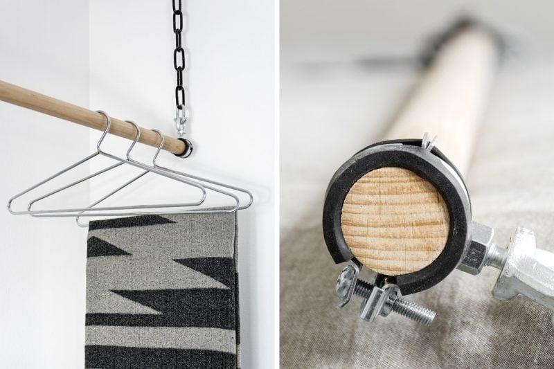 Elegante Kombination zwischen Holz und Metall für Ihre Kleiderstange für Wand