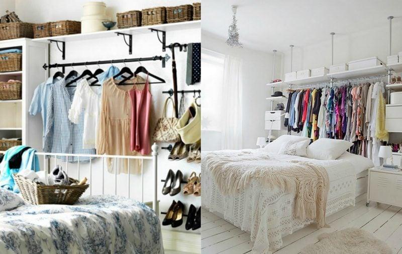 Kleiderstange für die Wand hinter dem Bett bietet mehr Platz an