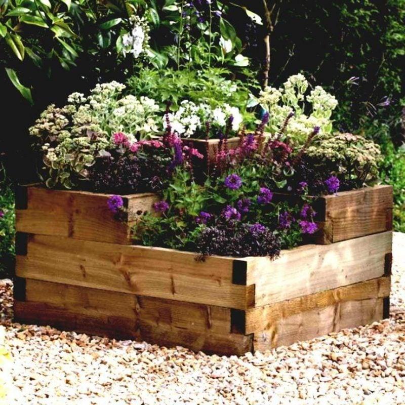 krauterhochbeet in der sonne liegen mit bunten blumen und kräutern bepflanzt