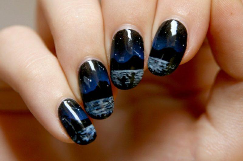 Fingernägel dunkle Farbgestaltung moderne Motive Landschaft