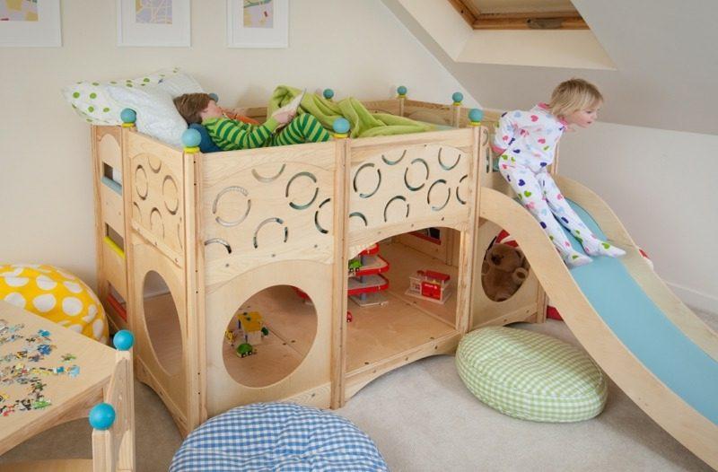 Spielbett mit Rutsche mitwachsend Kinderzimmer