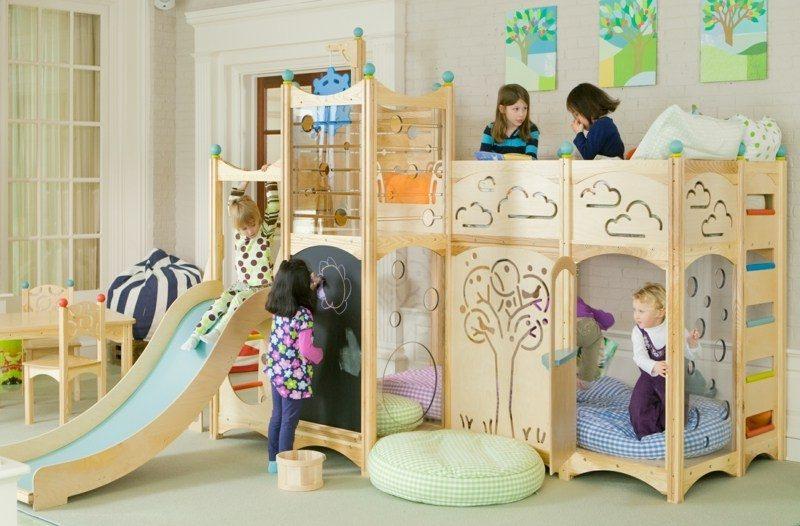 mitwachsende Kinderbett originelles Design Rutsche