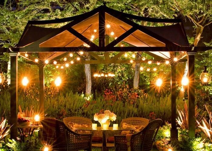 pergola bausatz können sie am abend gerne beleuchten und so schaffen sie ein romantisches ambiente