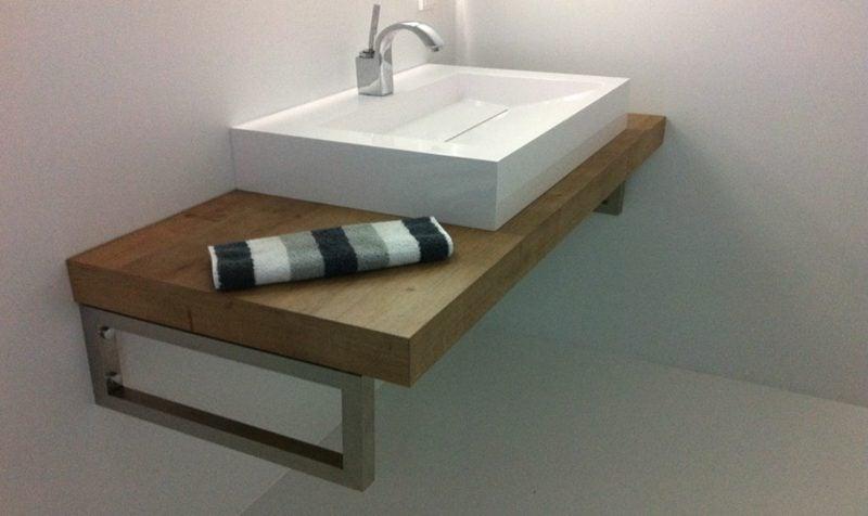 Waschtisch Holz Waschbecken aus Porzellan