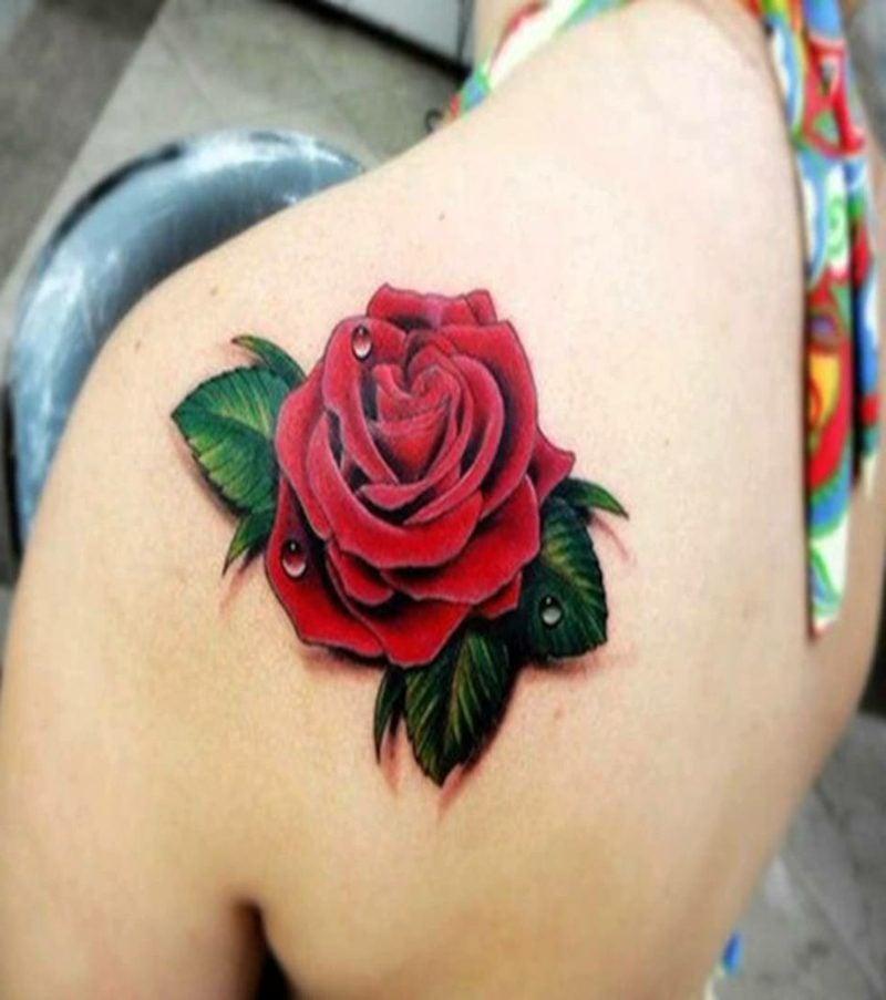 Rose Tattoo in 3D-Optik Schulter