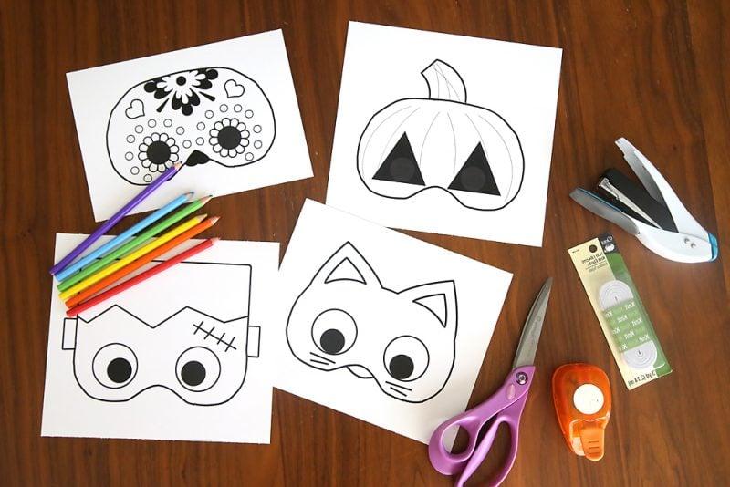 Schablonen zum Ausdrucken für eine grausige Halloween Maske