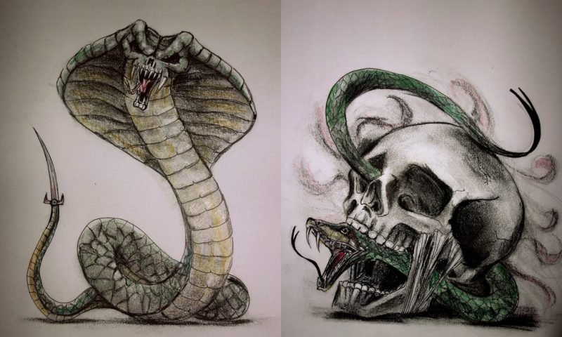 Schlangen Tattoo mit Totenkopf