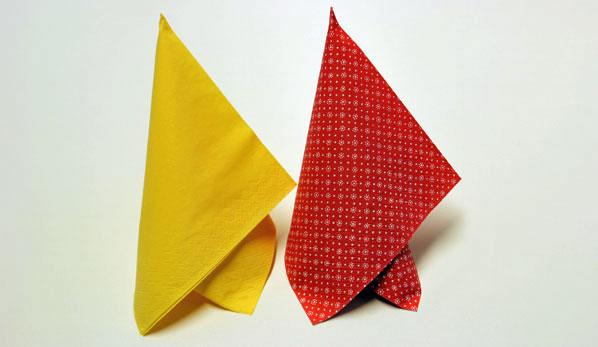 diy servietten falten anleitung marquee in gelb und rot