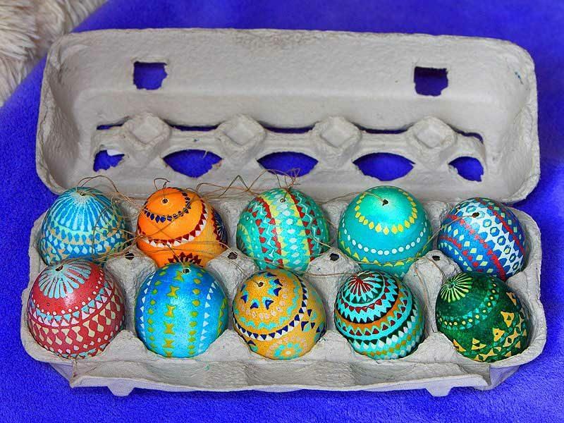 sorbische Ostereier ausgeblasen kreative Dekoideen