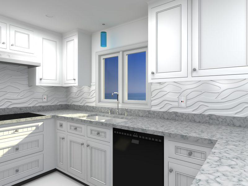 Spritzschutz für Küche aus weißen Paneelen