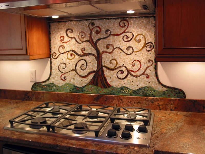 Spritzschutz für Küche mit interessanter Mosaik Art