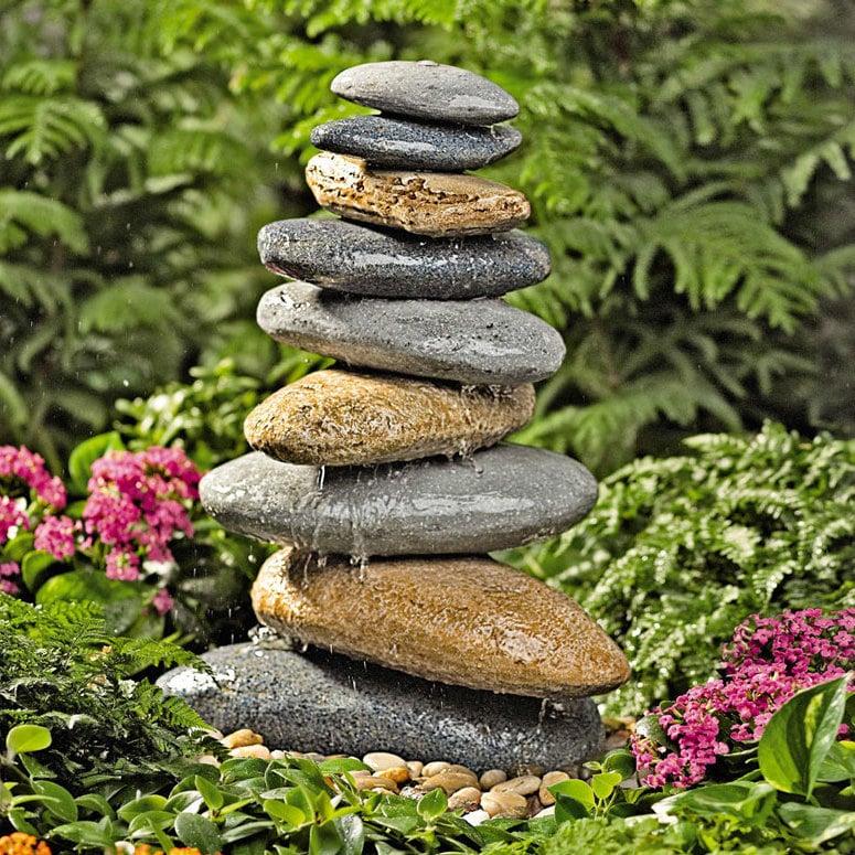 stein gartenbrunnen bunt