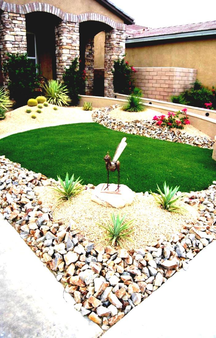 Steinbeet Vorgarten anlegen: Verwenden Sie verschiedene Arten von Steinen