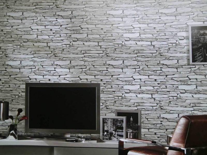 Steinoptik wand 20 erfinderische ideen architektur wohnzimmer zenideen for Steintapete grau wohnzimmer