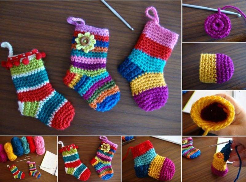 Strickmuster für Socken für Kinder sind in knallen Farben