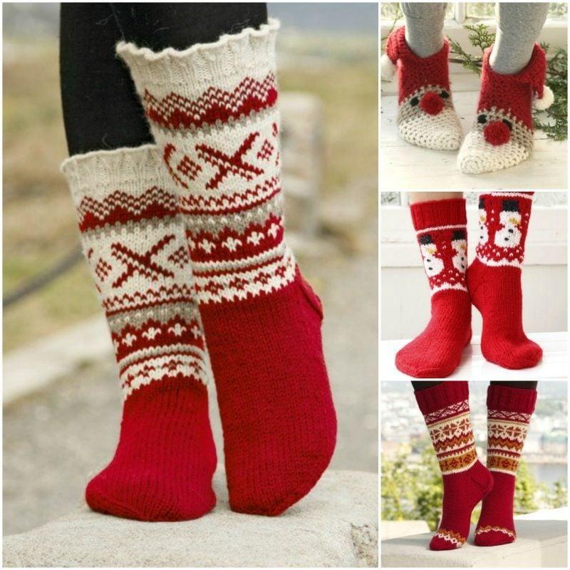 Strickmuster für Socken für Weihnachten