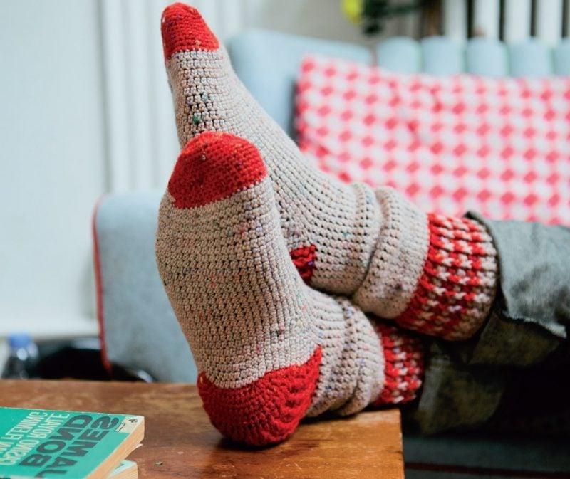 Strickmuster für Socken in zwei Farben