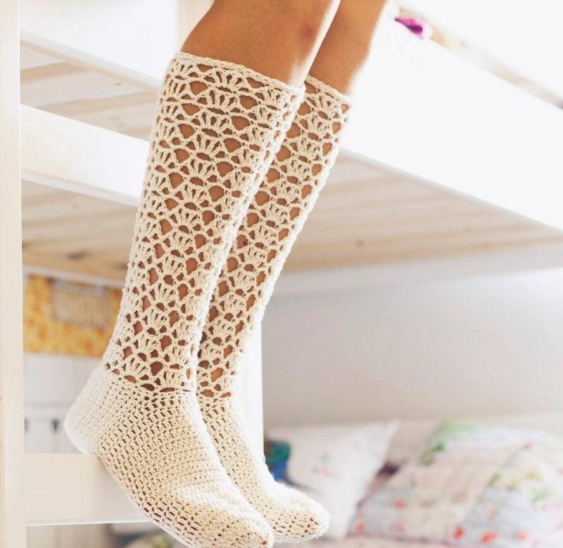 Strickmuster für Socken mit Löchern