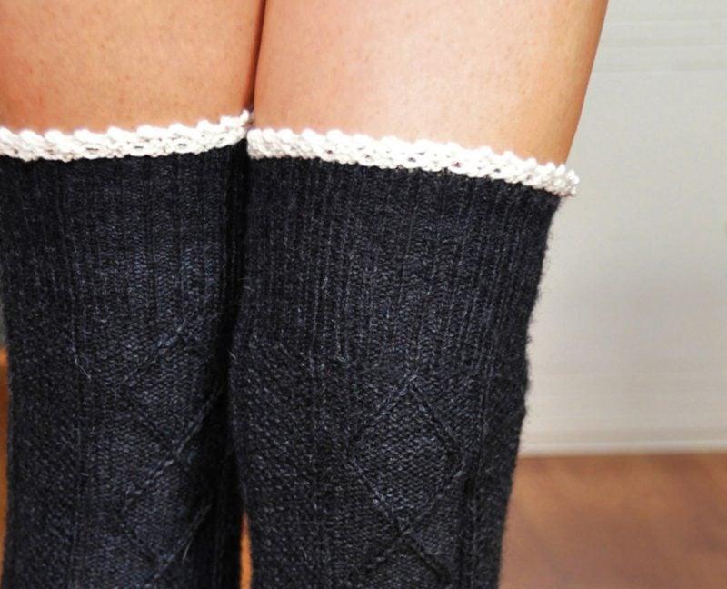 Strickmuster für Socken: Muster für knielange Socken
