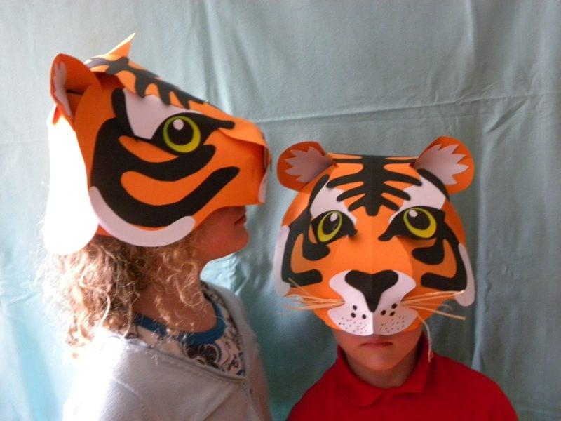 tiger tiermasken basteln mädchen und jungen