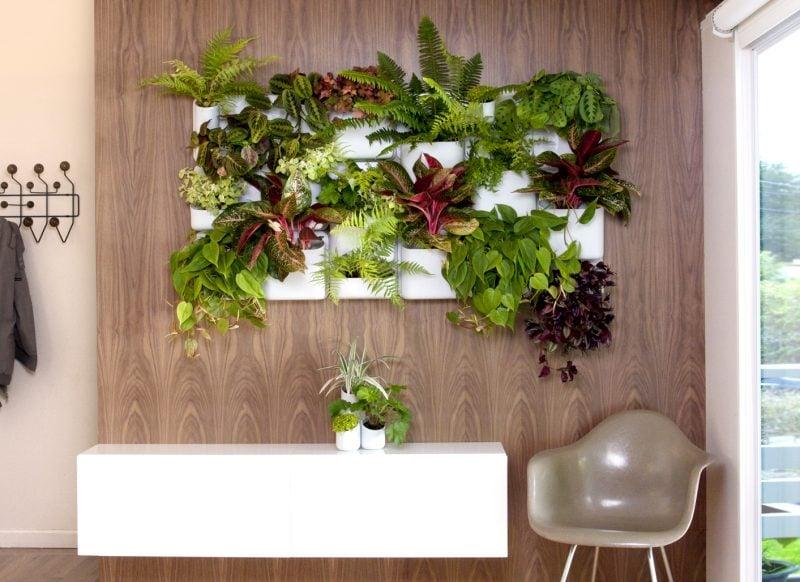 Vertikaler Garten mit Holz kombinieren